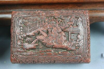 QianLong Marked Chinese Cinnabar Lacquer 'Scholar' Box And Cover