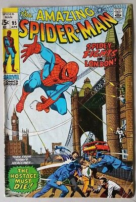 The Amazing Spider-Man #95 Spidey Fights In London VG+ Marvel Comics