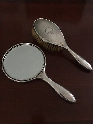 Solid silver (NOT plate) hand mirror and brush - hall marked