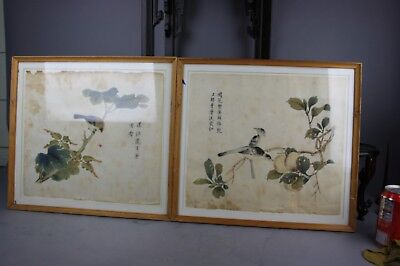 Chinese Pair of Photogravure Prints on Paper Bird and Flower Scenes