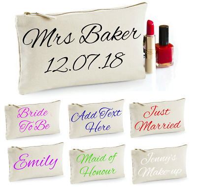 Personalised Make Up Bag Cosmetic Gift Keepsake Toiletries Wedding Bride To Be