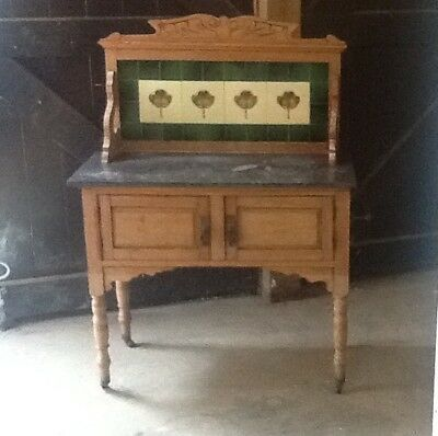 Edwardian/victorian Marble Topped Satinwood Wash Stand Tiled Inlay Towel Rail