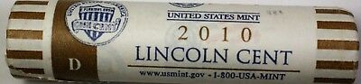 2010-D Lincoln Shield Cents OBW Roll 50 Pennies Brilliant Uncirculated Coins