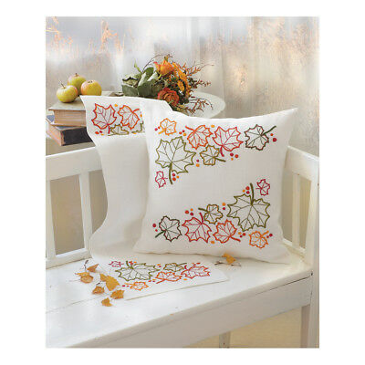 ANCHOR | Embroidery Kit: Maple Leaves - Linen Cushion | 92400002731