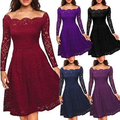 Women's Vintage Lace Dress Ladies Wedding Cocktail Evening Party Swing Dresses