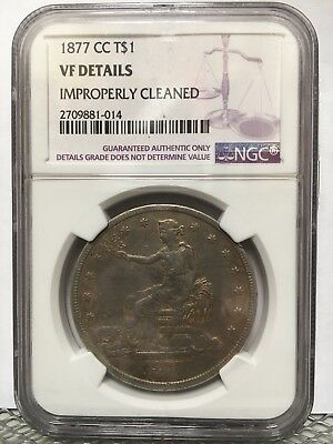 1877-CC T$1 Trade Dollar NGC VF details nicely toned