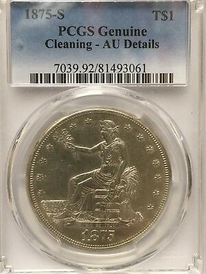 1875 S Silver Trade Dollar NGC AU details