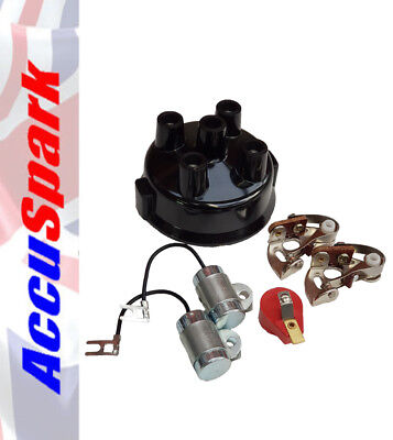 Points, Condenser, Red Rotor Arm & Distributor Cap For 4 Cyl Delco Distributors