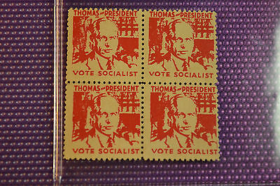 "Norman Thomas ,rare Block Of 4 Stamps ''vote Socialist""  Canidate 20's Slogan"
