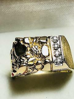 Men's Classic 14k Nugget & Brushed Gold with Diamonds Ring .20 TCW SI1 J Color