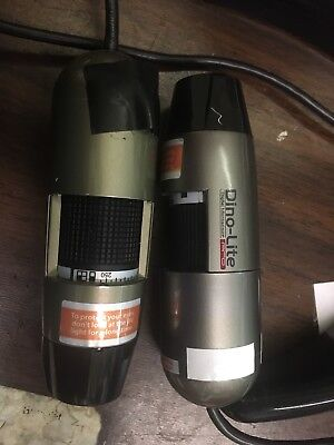 Lot Of 2 Dino-Lite Digital Microscopes, Premier & Pro With Stand