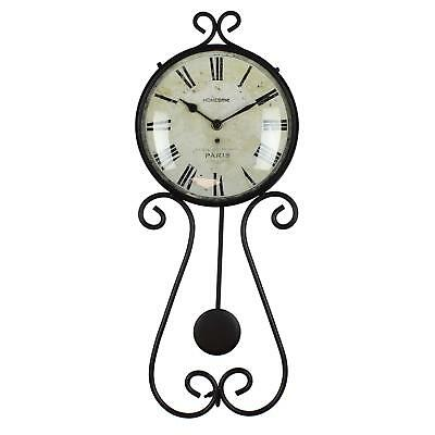 Pendulum Wall Clock Metal Black Roman Numerals French Vintage Style 50 cm