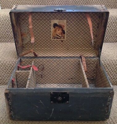 """Old Late 1800's Victorian 19"""" Doll Trunk Wood Metal Canvas Old Vintage Antique"""
