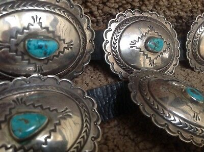 Vintage 3RD PHASE American Southwest SILVER & TURQUOISE Hand Stamped CONCHO BELT