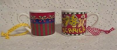 Set of Two - Mary Engelbreit Christmas Hanging Miniature Coffee Mugs Ornaments