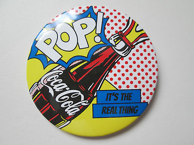Brand New Coca Cola Iconic Pop Art POP! It's the Real Thing Slogan Pin Button