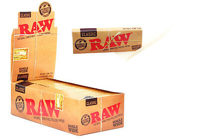 Raw Classic Single Wide Rolling Papers 50 Leaves Per Booklet