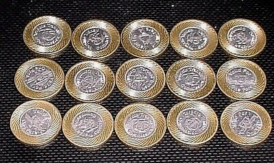 Lot of 15 TTC Toronto Transit Commission Valid For One Fare  Bimetal Coin Token
