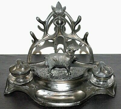 Antique French Art Nouveau Pewter Inkwell Desk Set