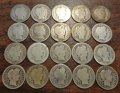 20 different date set 1892-1916 Barber/Liberty silver 10C dime coin lot