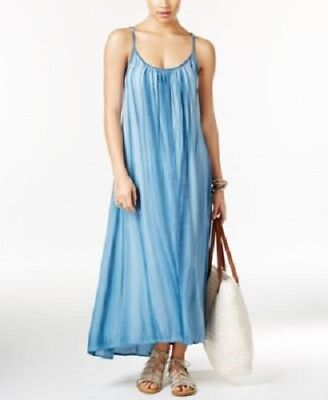 569217c065397 NWT RAVIYA SWIM Swimsuit Cover Up Acid-Wash Maxi Dress Sz S Blue ...
