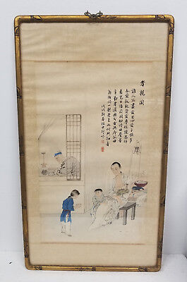 Antique Vintage Chinese Watercolor Painting Scroll MId Century Signed