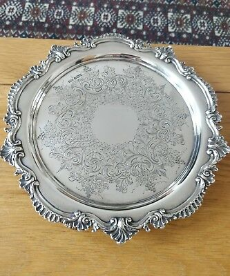 "Good Quality Heavy 9.5"" Solid Silver Salver Drinks Tray Sheffield 1907 498g"
