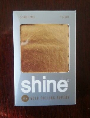 SHINE 24K Gold Rolling Papers 1 1/4 Size RAW Natural Hemp Organic King AUTHENTIC