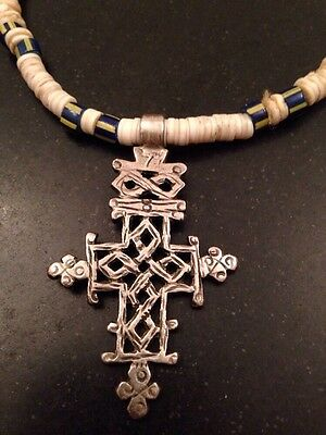 Antique Coptic Christian Cross Silver Pendant On Shell Disc Necklace