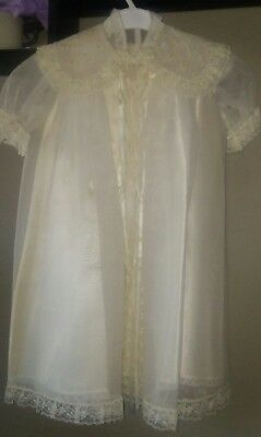 Vintage Catholic Baptism Christening Baby Gown 3 Piece Silk Set with Hat 0-6 MO