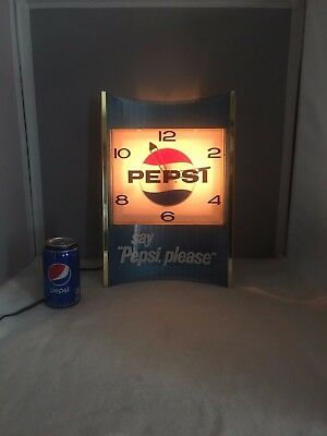 Vintage Pepsi Light Up Wall Clock 1960's-70's. Works- RARE COLLECTIBLE.