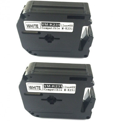 2PK compatible for Brother P-touch Label Tape Black on White M231 M-K231 MK231 P