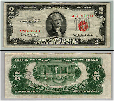 1953C $2 Dollar Bill Old Us Note Legal Tender Paper Money Currency Red Seal J272