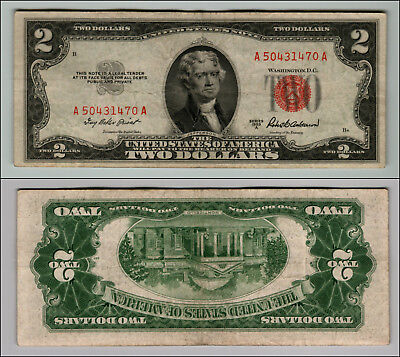 1953A $2 DOLLAR BILL OLD US NOTE LEGAL TENDER PAPER MONEY CURRENCY RED SEAL p638