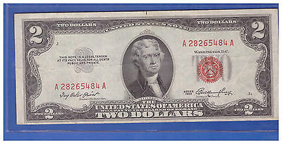 1953 $2 Dollar Bill Old Us Note Legal Tender Paper Money Currency Red Seal R874