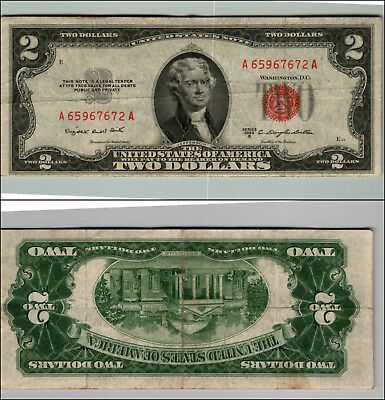 1953B $2 Dollar Bill Old Us Note Legal Tender Paper Money Currency Red Seal P59
