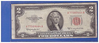 1953C $2 Dollar Bill Old Us Note Legal Tender Paper Money Currency Red Seal N588