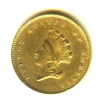 1855 O $1 Gold Type 2 AU Details In Grade