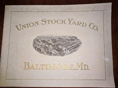 Union StockYard Co Baltimore Md Advertising Pamphlet Antique Claremont
