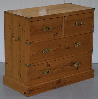 Lovely Vintage Pine Chest Bank Of Campaign Drawers Military Brass Handles Nice!