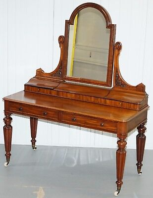 Lovely Circa 1830 William Iv Mahognay Dressing Table With Gillow's Inspired Legs