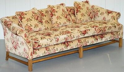 Regency Chippendale Style Camel Back Humpback Floral Upholstery Large Sofa