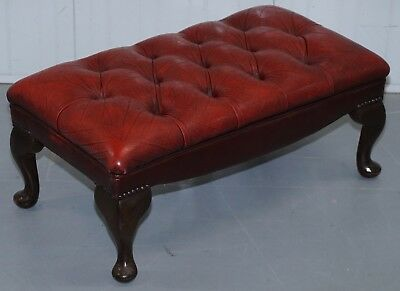 Vintage Aged Oxblood Leather Chesterfield Large Bench Footstool For 2 Sets Feet
