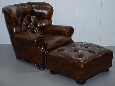 Fully Restored Rrp £10,200 Ralph Lauren Writer's Brown Leather Armchair Ottoman