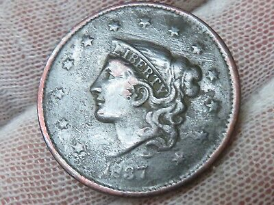 1837 Coronet Head U.S. Large Cent, and free shipping