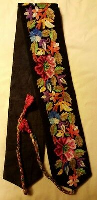 Vintage/Antique  Embroidery Floral Panel black wool on satin Exquisite