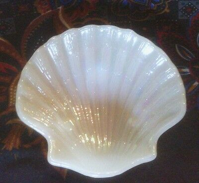 AVON Shell Shaped, Footed, Pearlescent White Glass, Soap Dish, Trinket Dish