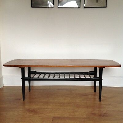 Mid Century Coffee Table With Magazine Shelf Vintage Retro Teak Ebonised