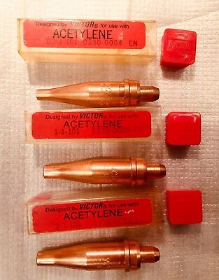 VICTOR ACETYLENE TORCH TIP - Lot of 3 - 00-1-101, 1-1-101, 2-1-101