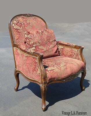French Provincial Carved Wood Red & Beige Floral Design Accent Chair